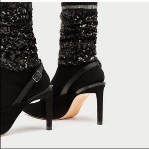 Zara black sequin slingback heels size 7.5 New